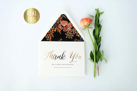gold foil personalized thank you cards + lined envelopes (set of 10) // wedding thank you cards real gold foil pressed stamped card - lola louie paperie