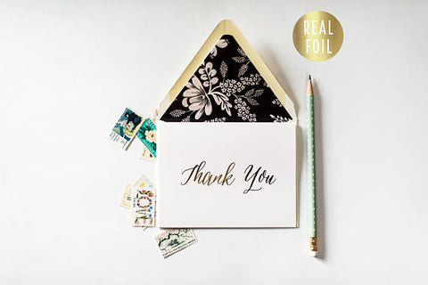 gold foil thank you cards + lined envelopes (sets of 10) // wedding thank you cards real gold foil pressed stamped card - lola louie paperie