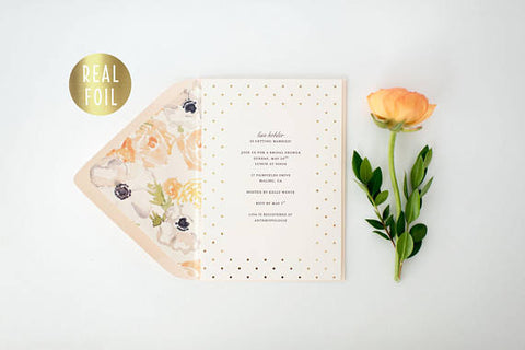 gold foil bridal shower invitation - customizable (sets of 10) - lola louie paperie, stationery - paper goods, stationery - wedding stationery, stationery - wedding invitations, stationery - thank you cards, stationery - bridesmaid cards