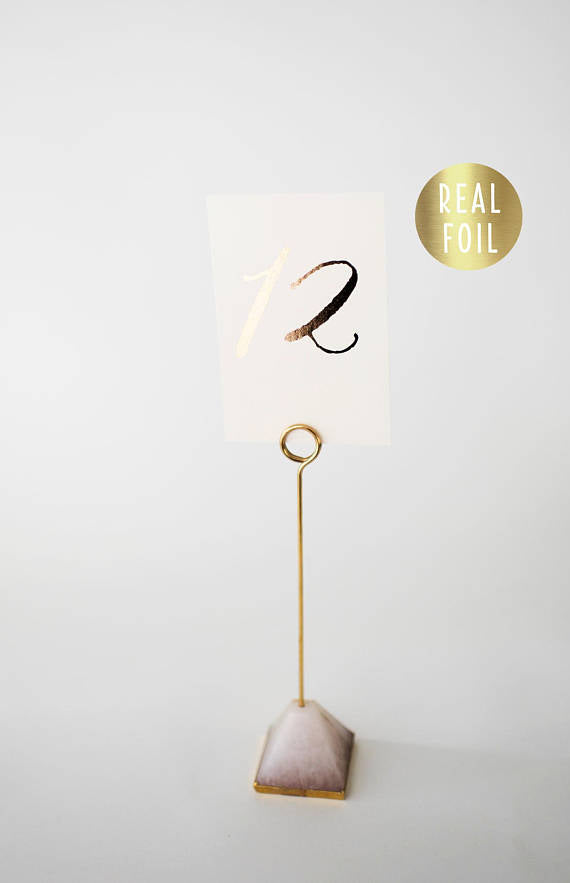 gold foil table numbers // lola louie paperie - lola louie paperie, stationery - paper goods, stationery - wedding stationery, stationery - wedding invitations, stationery - thank you cards, stationery - bridesmaid cards