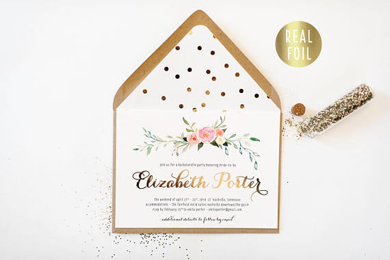 gold foil bachelorette party invitation - customizable (sets of 10) - lola louie paperie, stationery - paper goods, stationery - wedding stationery, stationery - wedding invitations, stationery - thank you cards, stationery - bridesmaid cards
