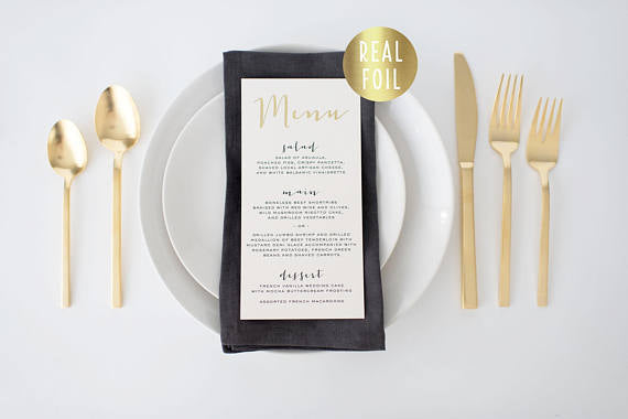gold foil wedding menus (sets of 10) - lola louie paperie, stationery - paper goods, stationery - wedding stationery, stationery - wedding invitations, stationery - thank you cards, stationery - bridesmaid cards