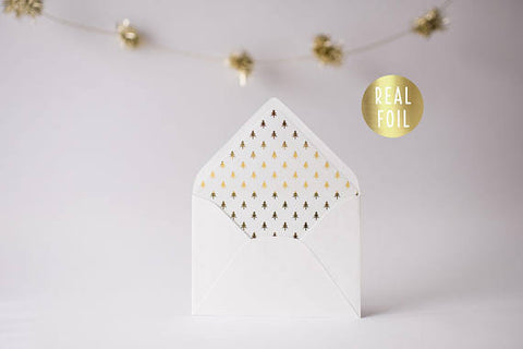 gold foil christmas tree lined envelopes / christmas holiday envelope liners (set of 10) - lola louie paperie, stationery - paper goods, stationery - wedding stationery, stationery - wedding invitations, stationery - thank you cards, stationery - bridesmaid cards