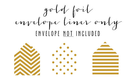 gold foil envelope liner only (envelope not included) - set of 10 - lola louie paperie