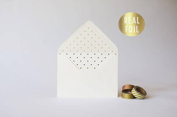 gold foil polka dot lined envelopes (sets of 10) - lola louie paperie, stationery - paper goods, stationery - wedding stationery, stationery - wedding invitations, stationery - thank you cards, stationery - bridesmaid cards
