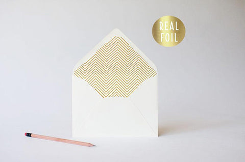 gold foil skinny chevron lined envelopes (sets of 10) - lola louie paperie