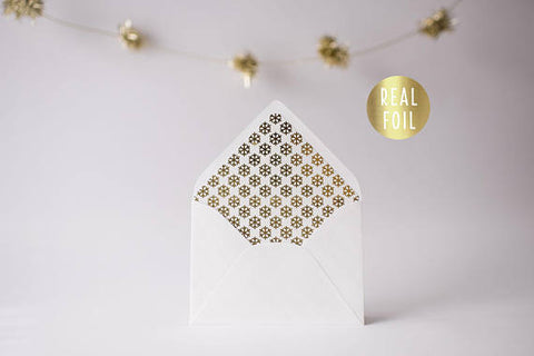 gold foil snowflake lined envelopes / christmas holiday envelope liners (set of 10) - lola louie paperie, stationery - paper goods, stationery - wedding stationery, stationery - wedding invitations, stationery - thank you cards, stationery - bridesmaid cards