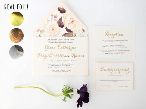 grace gold foil wedding invitation sample // rose gold foil / silver foil / blush / watercolor floral / calligraphy / custom / invite - lola louie paperie