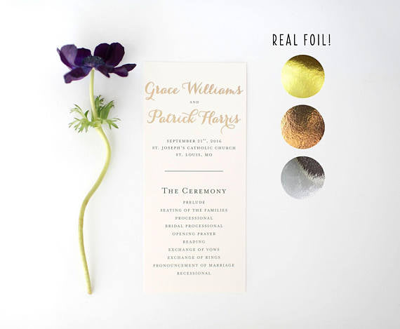 grace gold foil wedding programs (sets of 10) // lola louie paperie - lola louie paperie, stationery - paper goods, stationery - wedding stationery, stationery - wedding invitations, stationery - thank you cards, stationery - bridesmaid cards