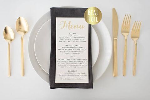grace gold foil wedding menus (sets of 10) - lola louie paperie, stationery - paper goods, stationery - wedding stationery, stationery - wedding invitations, stationery - thank you cards, stationery - bridesmaid cards