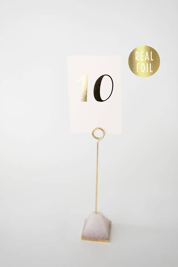 grace gold foil table numbers // lola louie paperie - lola louie paperie, stationery - paper goods, stationery - wedding stationery, stationery - wedding invitations, stationery - thank you cards, stationery - bridesmaid cards