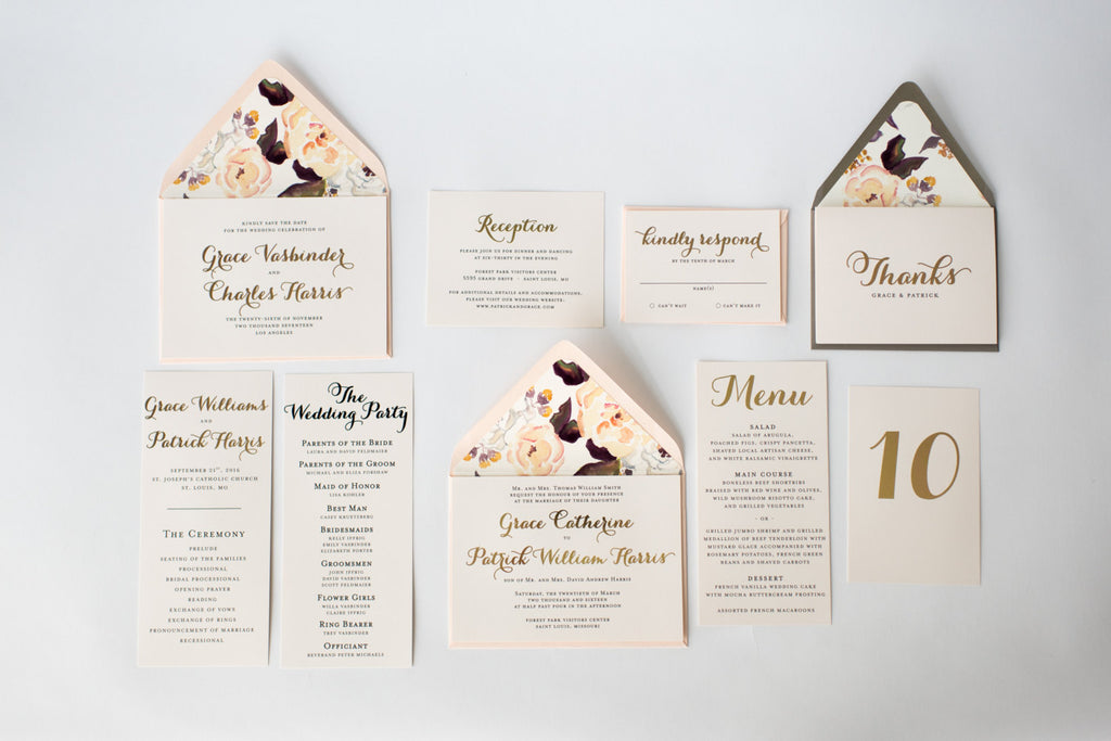 grace wedding set - lola louie paperie, stationery - paper goods, stationery - wedding stationery, stationery - wedding invitations, stationery - thank you cards, stationery - bridesmaid cards