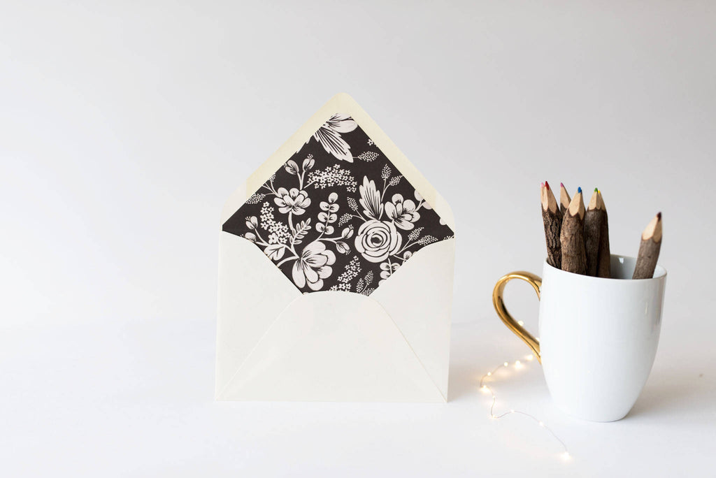 "rifle paper ""graphite lace"" lined envelopes (sets of 10) - lola louie paperie, stationery - paper goods, stationery - wedding stationery, stationery - wedding invitations, stationery - thank you cards, stationery - bridesmaid cards"