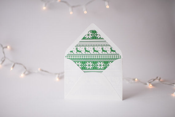 green christmas sweater lined envelopes / christmas holiday envelope liners (set of 10) - lola louie paperie, stationery - paper goods, stationery - wedding stationery, stationery - wedding invitations, stationery - thank you cards, stationery - bridesmaid cards