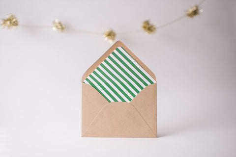 green diagonal stripe lined envelopes / christmas holiday envelope liners (set of 10) - lola louie paperie, stationery - paper goods, stationery - wedding stationery, stationery - wedding invitations, stationery - thank you cards, stationery - bridesmaid cards