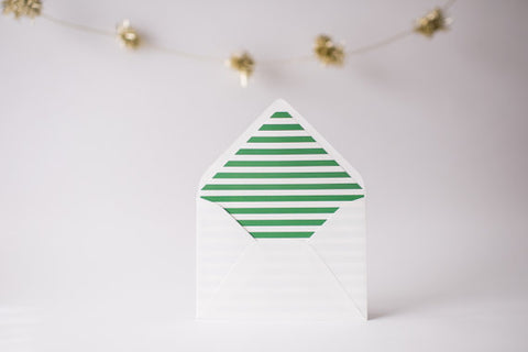 green horizontal stripe lined envelopes / christmas holiday envelope liners (set of 10) - lola louie paperie, stationery - paper goods, stationery - wedding stationery, stationery - wedding invitations, stationery - thank you cards, stationery - bridesmaid cards