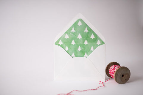 green watercolor christmas tree lined envelopes / christmas holiday envelope liners (set of 10) - lola louie paperie, stationery - paper goods, stationery - wedding stationery, stationery - wedding invitations, stationery - thank you cards, stationery - bridesmaid cards