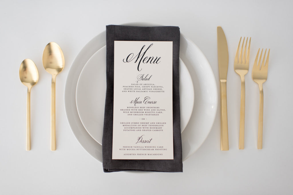 hazel wedding menus (sets of 10) - lola louie paperie, stationery - paper goods, stationery - wedding stationery, stationery - wedding invitations, stationery - thank you cards, stationery - bridesmaid cards