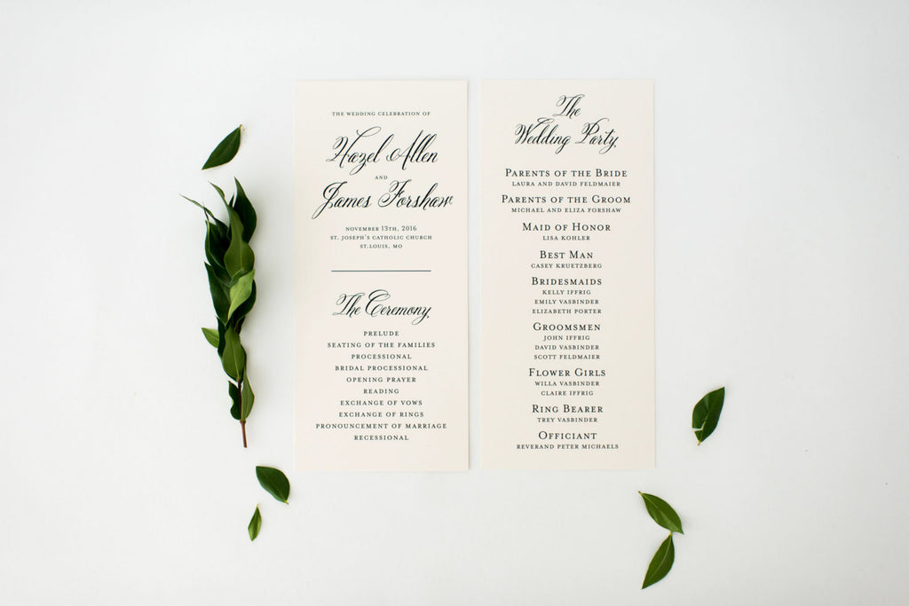 hazel wedding programs (sets of 10) // lola louie paperie - lola louie paperie, stationery - paper goods, stationery - wedding stationery, stationery - wedding invitations, stationery - thank you cards, stationery - bridesmaid cards