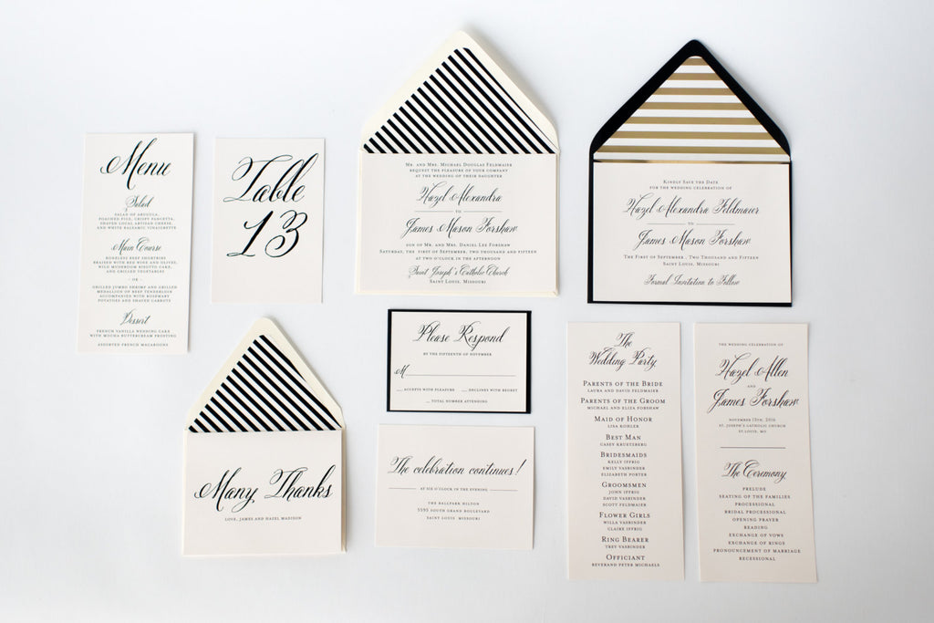hazel wedding set - lola louie paperie, stationery - paper goods, stationery - wedding stationery, stationery - wedding invitations, stationery - thank you cards, stationery - bridesmaid cards