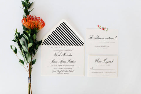 hazel wedding invitation // printable option / traditional classic black white calligraphy romantic custom modern invite - lola louie paperie, stationery - paper goods, stationery - wedding stationery, stationery - wedding invitations, stationery - thank you cards, stationery - bridesmaid cards