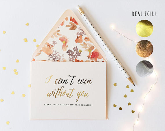 will you be my bridesmaid card / bridesmaid proposal / personalized / gold foil / rose gold foil / silver foil / bridal party card / gift - lola louie paperie, stationery - paper goods, stationery - wedding stationery, stationery - wedding invitations, stationery - thank you cards, stationery - bridesmaid cards