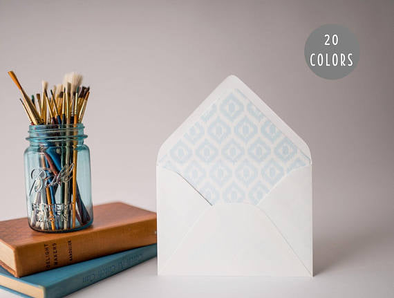 ikat lined envelopes (20 color options) - sets of 10 - lola louie paperie, stationery - paper goods, stationery - wedding stationery, stationery - wedding invitations, stationery - thank you cards, stationery - bridesmaid cards