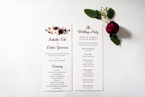 isabella wedding programs (sets of 10) // lola louie paperie - lola louie paperie, stationery - paper goods, stationery - wedding stationery, stationery - wedding invitations, stationery - thank you cards, stationery - bridesmaid cards