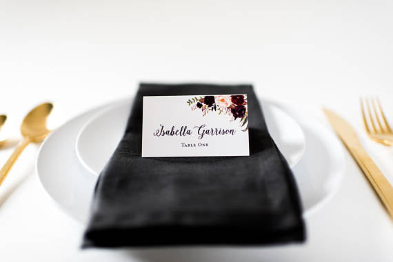 isabella place cards / escort cards (sets of 10) // flat or folded wedding place cards / burgundy watercolor floral romantic calligraphy - lola louie paperie,  - paper goods,  - wedding stationery,  - wedding invitations,  - thank you cards,  - bridesmaid cards
