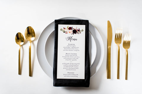 isabella wedding menus (sets of 10) - lola louie paperie, stationery - paper goods, stationery - wedding stationery, stationery - wedding invitations, stationery - thank you cards, stationery - bridesmaid cards