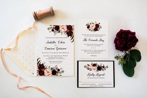isabella burgundy floral wedding invitation sample // watercolor gold foil blush calligraphy custom romantic invite printed invitation - lola louie paperie