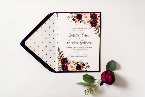 Isabella save the date invitations - customizable (sets of 10) - lola louie paperie, stationery - paper goods, stationery - wedding stationery, stationery - wedding invitations, stationery - thank you cards, stationery - bridesmaid cards
