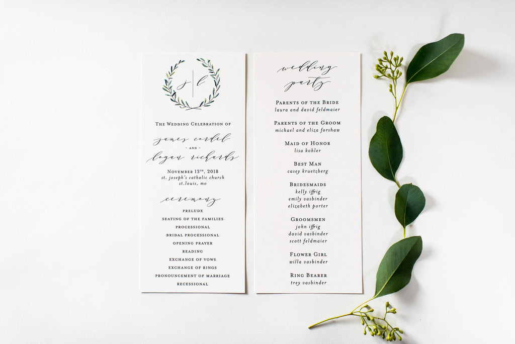 james wedding programs (sets of 10) // lola louie paperie - lola louie paperie, stationery - paper goods, stationery - wedding stationery, stationery - wedding invitations, stationery - thank you cards, stationery - bridesmaid cards