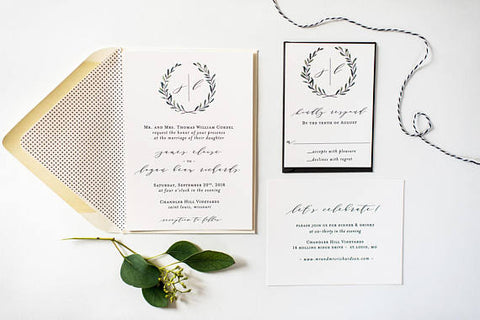 james greenery wedding invitation sample // monogram winery olive branch rustic eucalyptus custom calligraphy invite printed invitation - lola louie paperie, stationery - paper goods, stationery - wedding stationery, stationery - wedding invitations, stationery - thank you cards, stationery - bridesmaid cards