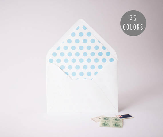 large polka dot lined envelopes (25 color options) - sets of 10 - lola louie paperie, stationery - paper goods, stationery - wedding stationery, stationery - wedding invitations, stationery - thank you cards, stationery - bridesmaid cards