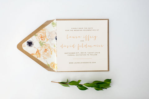 laura save the date invitation - customizable (sets of 10) - lola louie paperie, stationery - paper goods, stationery - wedding stationery, stationery - wedding invitations, stationery - thank you cards, stationery - bridesmaid cards