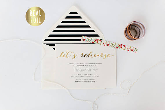 gold foil rehearsal dinner invitation (sets of 10) - lola louie paperie, stationery - paper goods, stationery - wedding stationery, stationery - wedding invitations, stationery - thank you cards, stationery - bridesmaid cards