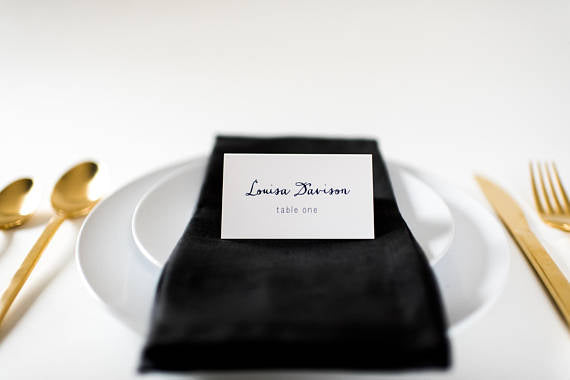 louisa place cards / escort cards (sets of 10) // flat or folded wedding place cards / navy blue calligraphy neutral modern classic - lola louie paperie,  - paper goods,  - wedding stationery,  - wedding invitations,  - thank you cards,  - bridesmaid cards