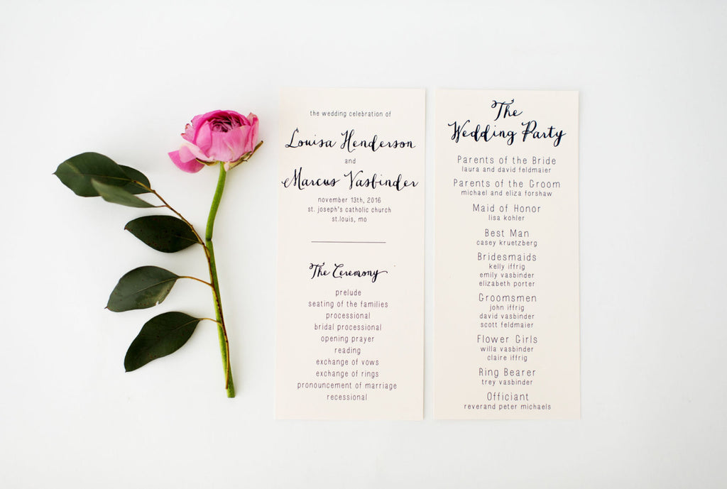 louisa wedding programs (sets of 10) // lola louie paperie - lola louie paperie, stationery - paper goods, stationery - wedding stationery, stationery - wedding invitations, stationery - thank you cards, stationery - bridesmaid cards