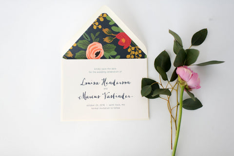 louisa save the date invitation - customizable (sets of 10) - lola louie paperie, stationery - paper goods, stationery - wedding stationery, stationery - wedding invitations, stationery - thank you cards, stationery - bridesmaid cards