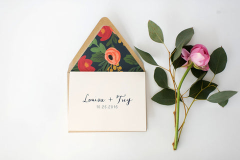 louisa wedding thank you cards // personalized thank you cards / card set / stationery / navy blue floral calligraphy rifle paper - lola louie paperie