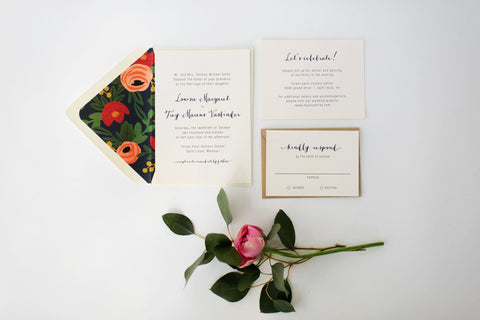 louisa wedding invitation // printable or printed / navy blue floral neutral calligraphy rifle paper liner custom romantic modern invite - lola louie paperie, stationery - paper goods, stationery - wedding stationery, stationery - wedding invitations, stationery - thank you cards, stationery - bridesmaid cards