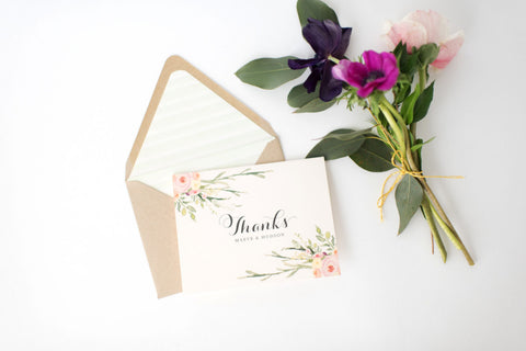 maeve wedding thank you cards // personalized thank you cards / personalized stationery / card set / watercolor floral / blush / rustic - lola louie paperie