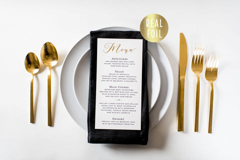 millie gold foil wedding menus (sets of 10) - lola louie paperie, stationery - paper goods, stationery - wedding stationery, stationery - wedding invitations, stationery - thank you cards, stationery - bridesmaid cards
