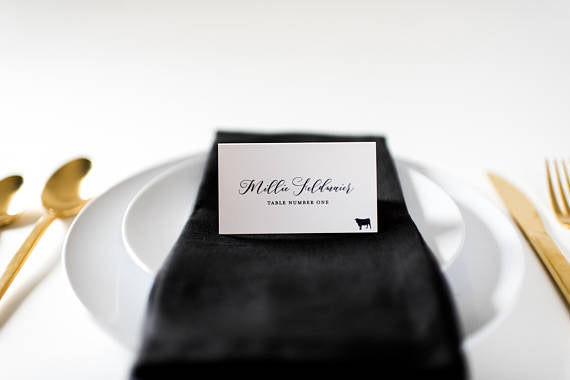 millie place cards / escort cards (sets of 10) // flat or folded wedding place cards / black calligraphy neutral modern classic - lola louie paperie,  - paper goods,  - wedding stationery,  - wedding invitations,  - thank you cards,  - bridesmaid cards
