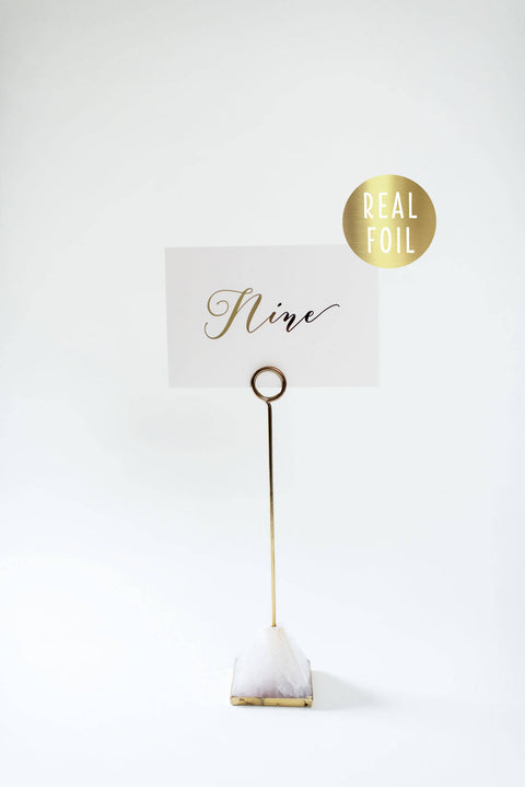 millie gold foil table numbers // lola louie paperie - lola louie paperie, stationery - paper goods, stationery - wedding stationery, stationery - wedding invitations, stationery - thank you cards, stationery - bridesmaid cards