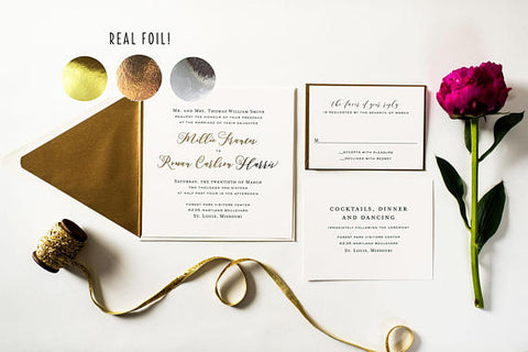 millie gold foil wedding invitation sample set // rose gold foil / silver foil / modern simple custom calligraphy romantic invite - lola louie paperie