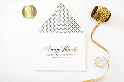 NEW! millie gold foil personalized thank you cards (set of 10) // wedding thank you cards real gold foil pressed stamped card - lola louie paperie, stationery - paper goods, stationery - wedding stationery, stationery - wedding invitations, stationery - thank you cards, stationery - bridesmaid cards