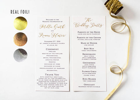 millie gold foil wedding programs (sets of 10) // lola louie paperie - lola louie paperie, stationery - paper goods, stationery - wedding stationery, stationery - wedding invitations, stationery - thank you cards, stationery - bridesmaid cards