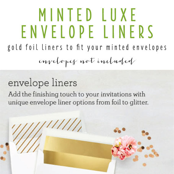 minted luxe envelope liner only (envelope not included) - set of 10 - lola louie paperie, stationery - paper goods, stationery - wedding stationery, stationery - wedding invitations, stationery - thank you cards, stationery - bridesmaid cards